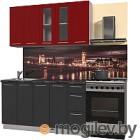 Готовая кухня Интерлиния Мила Пластик 1.5 Б (антрацит глянец/красный глянец/кастилло темный)