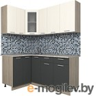 Готовая кухня Интерлиния Мила 12x17 (антрацит/вудлайн кремовый)
