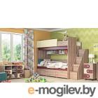 Двухъярусная кровать Мебель-КМК Бамбино 3-1 0527 (дуб сонома/капучино)