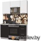 Готовая кухня Интерлиния Мила Пластик 1.5 А (черный глянец/белый глянец/опал светлый)