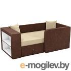 Кровать-тахта Mebelico Орнелла 5 (микровельвет бежевый/коричневый)