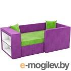 Кровать-тахта Mebelico Орнелла 5 (микровельвет, зеленый/фиолетовый)