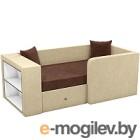 Кровать-тахта Mebelico Орнелла 5 (микровельвет, коричневый/бежевый)