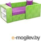 Кровать-тахта Mebelico Орнелла 5 (микровельвет, фиолетовый/зеленый)