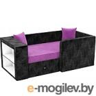 Кровать-тахта Mebelico Орнелла 5 (микровельвет, фиолетовый/черный)