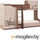 Двухъярусная кровать SV-мебель Город Ж 80x200 (ясень шимо темный/ясень шимо светлый)
