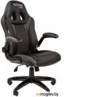 Chairman game 15 чёрный/серый Игровое кресло (экокожа, регулируемый угол наклона, механизм качания)