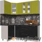 Готовая кухня Интерлиния Мила Пластик 1.2x1.9 (черный глянец/оливковый глянец/кастилло темный)