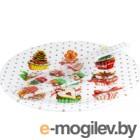 Блюдо для торта Zibo Shelley Новогодние капкейки / S3010/2PDQ X051 (с лопаткой)