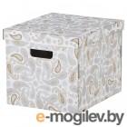 смека, коробка с крышкой, серый, с рисунком, 33x38x30 см 502.903.75