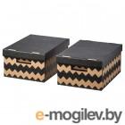 Набор коробок для хранения Ikea Пингла (черный/натуральный) 603.889.13