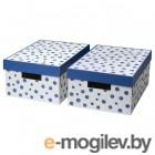 пингла, коробка с крышкой, точечный, синий, 28x37x18 см 404.690.76