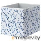 ДРЁНА, Коробка, белый, синий с цветочным орнаментом, 33x38x33 см 904.281.49