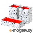 МЁЙЛИГХЕТ, Набор коробок, 3 шт., красный, мозаичный орнамент 704.418.11