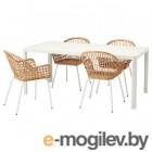 ТИНГБИ / НИЛЬСОВЕ, Стол и 4 стула, белый, ротанг белый, 180x90 см 392.972.98