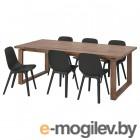 МОРБИЛОНГА / ОДГЕР, Стол и 6 стульев, дубовый шпон, антрацит, 220x100 см 293.050.72