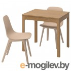 ЭКЕДАЛЕН / ОДГЕР, Стол и 2 стула, дуб, белый бежевый, 80/120 см 092.394.41