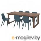 МОРБИЛОНГА / ОДГЕР, Стол и 6 стульев, дубовый шпон, синий, 220x100 см 092.969.07