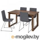 морбилонга / вольфганг, стол и 4 стула, коричневый, гуннаред классический серый, 140x85 см 292.598.43