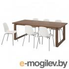 МОРБИЛОНГА / ЛЕЙФ-АРНЕ, Стол и 6 стульев, коричневый, белый, 220x100 см 092.414.39
