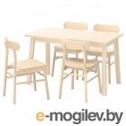 НОРРОКЕР / РЁННИНГЕ, Стол и 4 стула, береза, береза, 125x74 см 792.972.44