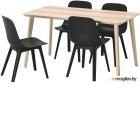 лисабо / одгер, стол и 4 стула, ясеневый шпон, антрацит, 140x78 см 493.050.66