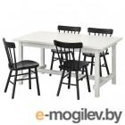 НОРДВИКЕН / НОРРАРИД, Стол и 4 стула, белый, черный, 152/223x95 см 193.051.76