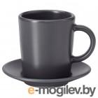 ДИНЕРА, Чашка для кофе эспрессо с блюдцем, темно-серый, 9 сл 404.296.41