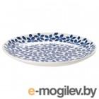 МЕДЛЕМ, Тарелка десертная, белый/синий, с рисунком, 22 см 104.101.48