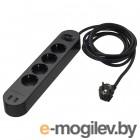 КОПЛА, Удлинитель 4-местный/2 USB-порта, черный, 3.0 м 404.095.82