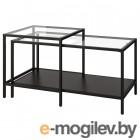 ВИТШЁ, Комплект столов, 2 шт, черно-коричневый, стекло, 90x50 см 803.833.06