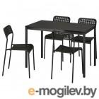 тэрендо / адде, стол и 4 стула, черный, 110 см 792.297.78