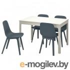 экедален / одгер, стол и 4 стула, белый, синий, 120/180 см 192.213.46