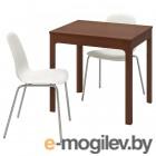 ЭКЕДАЛЕН / ЛЕЙФ-АРНЕ, Стол и 2 стула, коричневый, белый, 80/120 см 592.214.34