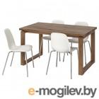 МОРБИЛОНГА / ЛЕЙФ-АРНЕ, Стол и 4 стула, коричневый, белый, 140x85 см 692.770.48