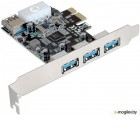 Контроллер ExeGate EXE-367 PCI-E 2.0, 3*USB3.0 ext + 1*USB3.0 int, разъем доп.питания (OEM)