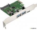 Контроллер ExeGate EXE-323 PCI-E 2.0, 2*USB3.0 ext + 1*Type-C, разъем доп.питания (OEM)