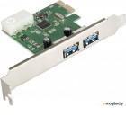 Контроллер ExeGate EXE-319 PCI-E 2.0, 2*USB3.0 ext, разъем доп.питания (OEM)