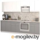 Готовая кухня Кастанье Марта 2.6 (белый глянец/серый пыльный)
