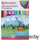 Цветная бумага и картон Цветная бумага Brauberg Путешествие А4 24 листа 24 цвета мелованная 129929