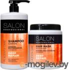 Набор косметики для волос Salon Professional Глубокое восстановление шампунь 1л+маска 1л