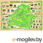 Настенная карта Белкартография Познай Беларусь (ламинированная с держателями)