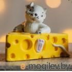 Статуэтка Нашы майстры Мышка в сыре / 3087 (декорированная)