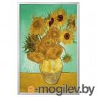 БЬЁРКСТА, Картина с рамой, натюрморт, Ваза с двенадцатью подсолнухами цвет алюминия, 78x118 см