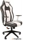 Игровое кресло Chairman game 23 серый/белый  (экокожа, регулируемый угол наклона, механизм качания)