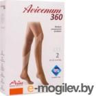 Чулки компрессионные Aries Avicenum 360 с резинкой и открытым носком / 9999 (L, long)