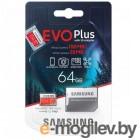 Флеш карта microSD 64GB SAMSUNG EVO PLUS microSDXC Class 10, UHS-I, (SD адаптер) 100MB/s