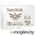 Карта памяти SanDisk and Nintendo Cobranded microSDXC SQXAT, 64GB, V30, U3, C10, A1, UHS-1, 100MB/s R, 60MB/s W, 4x6, Lifetime Limited