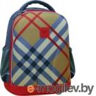 Школьный рюкзак Mike&Mar 1010-4 (бежевая клетка/красный кант)