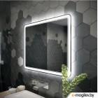 Зеркало Пекам Marta 2 50x60 (с подсветкой и часами)
